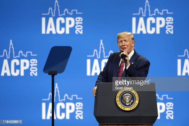 S President Donald Trump addresses the International Association of Chiefs of Police convention on October 28 2019 in Chicago Illinois Trump is...