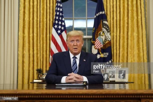 President Donald Trump addresses the nation from the Oval Office about the widening coronavirus crisis on March 11, 2020. President Trump said the US...