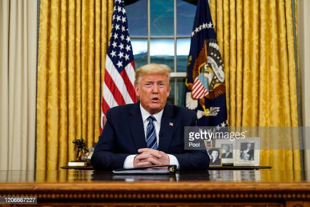 President Donald Trump addresses the nation from the Oval Office about the widening coronavirus crisis on March 11, 2020 in Washington, DC. President...
