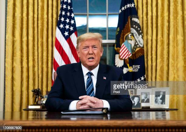 President Donald Trump addresses the nation from the Oval Office about the widening Coronavirus crisis on March 11 2020 in Washington DC President...