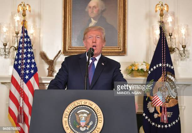 President Donald Trump addresses the nation on the situation in Syria April 13 2018 at the White House in Washington DC Trump said strikes on Syria...