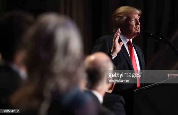US President Donald Trump addresses the National Prayer Breakfast February 2 2017 in Washington DC Every US president since Dwight Eisenhower has...