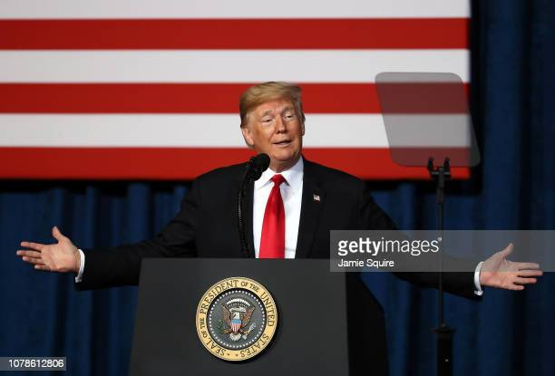 President Donald Trump addresses the Project Safe Neighborhoods National Conference on December 07, 2018 in Kansas City, Missouri. Trump delivered...