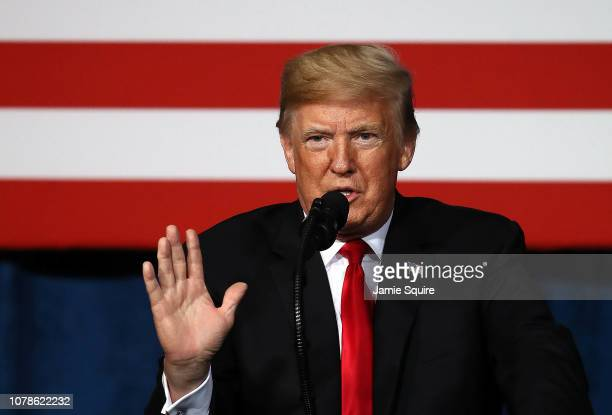 President Donald Trump addresses the Project Safe Neighborhoods National Conference on December 07 2018 in Kansas City Missouri Trump delivered the...