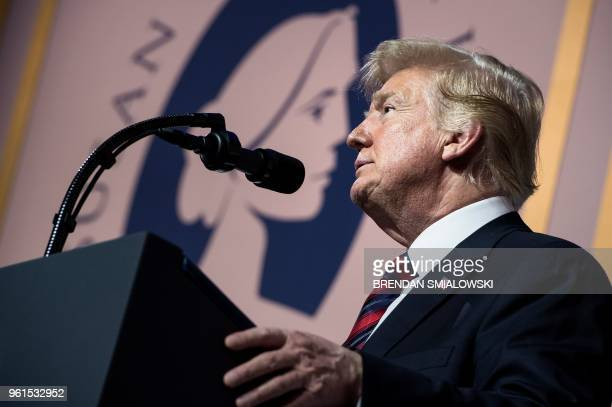 President Donald Trump addresses the Susan B. Anthony List 11th Annual Campaign for Life Gala at the National Building Museum May 22, 2018 in...