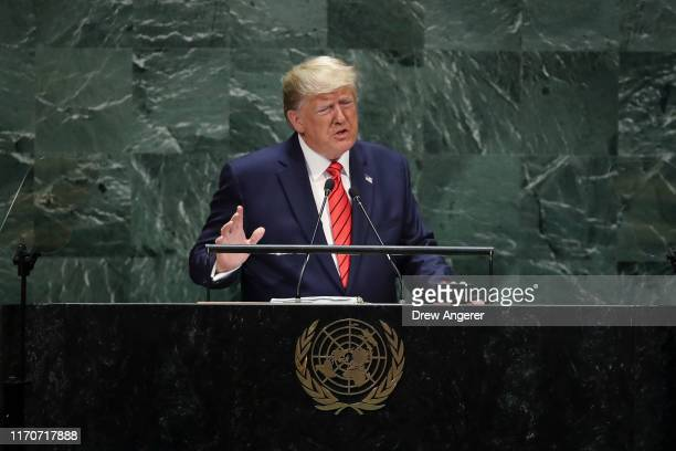 S President Donald Trump addresses the United Nations General Assembly at UN headquarters on September 24 2019 in New York City World leaders from...