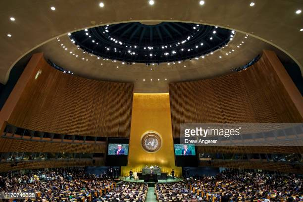President Donald Trump addresses the United Nations General Assembly at UN headquarters on September 24, 2019 in New York City. World leaders from...