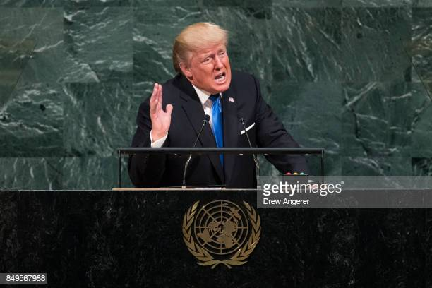 S President Donald Trump addresses the United Nations General Assembly at UN headquarters September 19 2017 in New York City Among the issues facing...