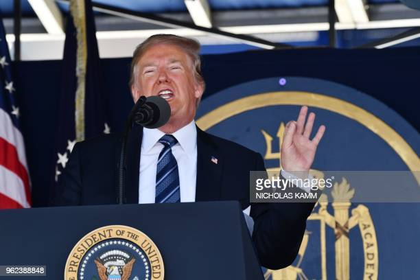 US President Donald Trump addresses the US Naval Academy graduating class on May 25 2018 in Annapolis Maryland