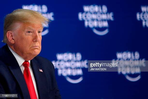 President Donald Trump addresses the World Economic Forum in Davos on January 21 2020