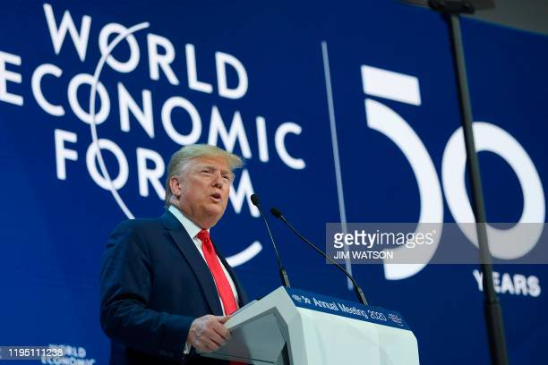 US President Donald Trump addresses the World Economic Forum in Davos on January 21 2020