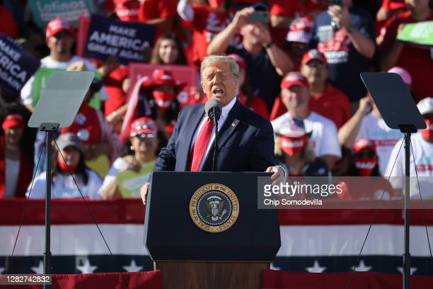 President Donald Trump addresses thousands of supporters during a campaign rally at Phoenix Goodyear Airport October 28, 2020 in Goodyear, Arizona....