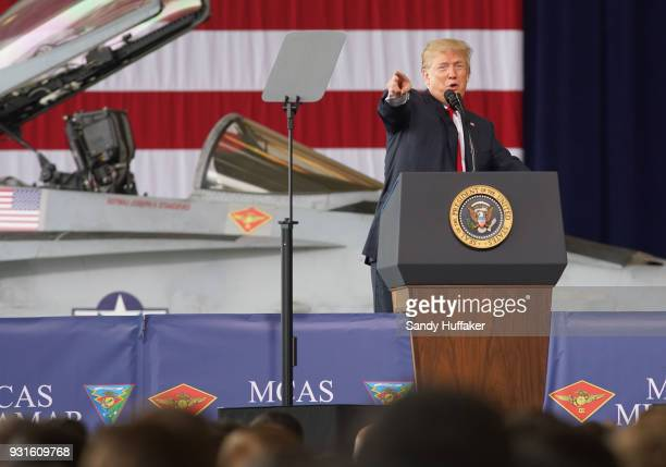President Donald Trump addresses troops at Miramar Marine Corp Air Station on March 13 2018 in San Diego California President Trump on his first...