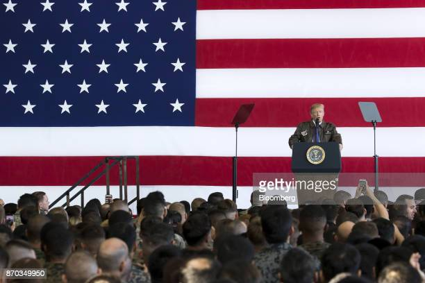 US President Donald Trump addresses US military personnel at Yokota Air Base in Fussa Tokyo Metropolis Japan on Sunday Nov 5 2017 Trumpwarned...
