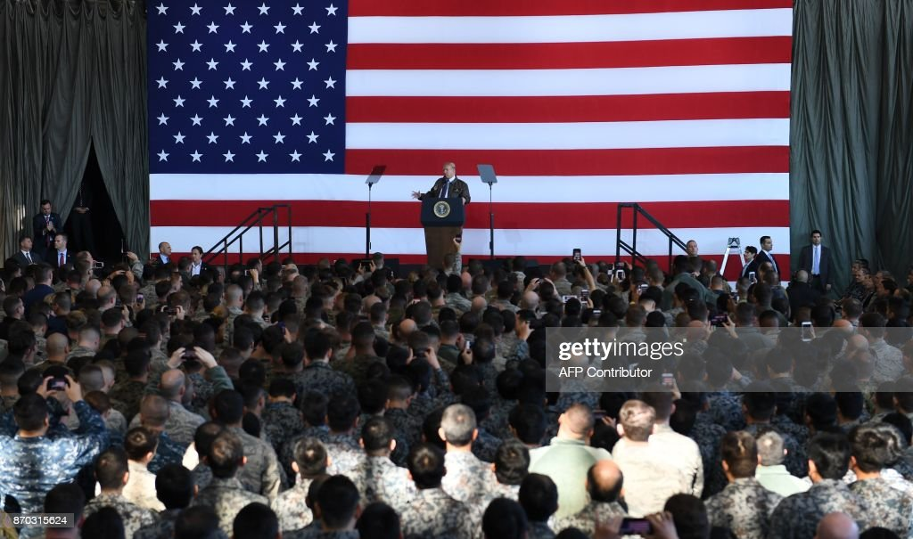 US President Donald Trump addresses US soldiers upon arriving at US Yokota Air Base in Tokyo on November 5, 2017. Trump touched down in Japan, kicking off the first leg of a high-stakes Asia tour set to be dominated by soaring tensions with nuclear-armed North Korea. /