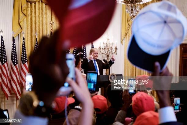 S President Donald Trump addresses young black conservative leaders from across the country as part of the 2018 Young Black Leadership Summit in the...
