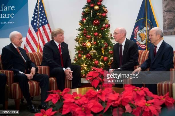 US President Donald Trump alongside US Senator Orrin Hatch Republican of Utah meets with LDS President Henry B Eyring and Russel Nelson President of...