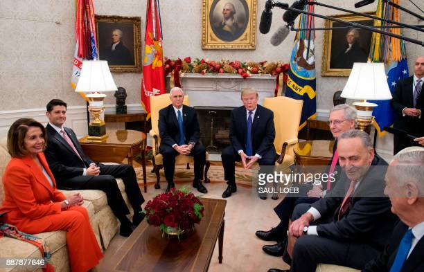 US President Donald Trump alongside Vice President Mike Pence meets with Congressional leadership including Senate Majority Leader Mitch McConnell...