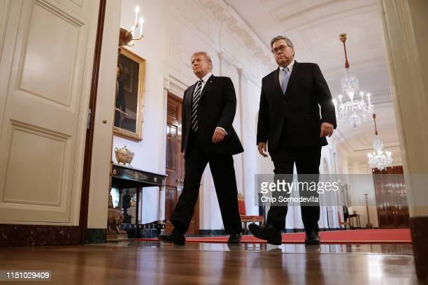 S President Donald Trump and Attorney General William Barr arrive together for the presentation of the Public Safety Officer Medals of Valor in the...
