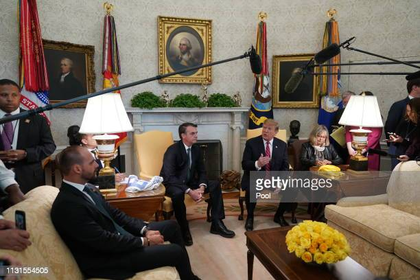 S President Donald Trump and Brazilian President Jair Bolsonaro meet at the White House March 19 2019 in Washington DC President Trump is hosting...