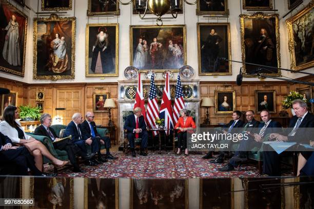 President Donald Trump and Britain's Prime Minister Theresa May hold a meeting at Chequers the prime minister's country residence near Ellesborough...