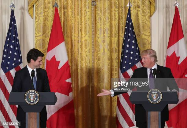 S President Donald Trump and Canadian Prime Minister Justin Trudeau participate in a joint news conference in the East Room of the White House on...