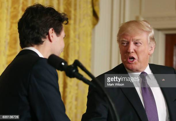 S President Donald Trump and Canadian Prime Minister Justin Trudeau participate in a joint news conference at the East Room of the White House...