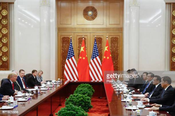 S President Donald Trump and China's Premier Li Keqiang meet at the Great Hall of the People on November 9 2017 in Beijing China Trump is on a 10day...