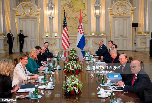 US President Donald Trump and Croatian President Kolinda GrabarKitarovic hold a meeting at the Royal Castle in Warsaw Poland on July 6 2017 / AFP...