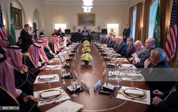 US President Donald Trump and Crown Prince Mohammed bin Salman Al Saud of Saudi Arabia hold an interdelegation meeting in the Oval Office at the...