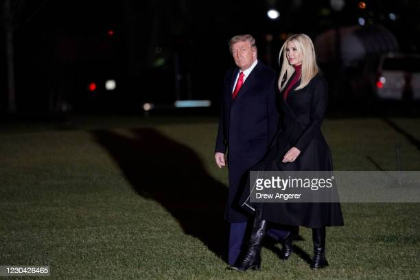 President Donald Trump and daughter Ivanka Trump walk to Marine One on the South Lawn of the White House on January 4, 2020 in Washington, DC. The...