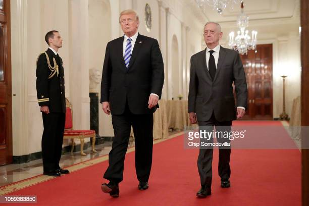 President Donald Trump and Defense Secretary James Mattis arrive for an event commemorating the 35th anniversary of attack on the Beirut Barracks in...