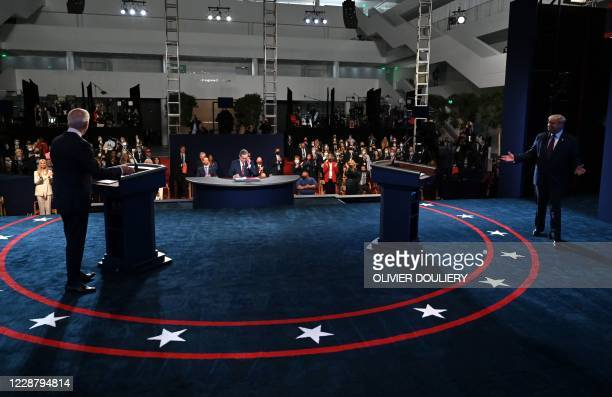 US President Donald Trump and Democratic presidential candidate Joe Biden arrive for the first presidential debate at Case Western Reserve University...