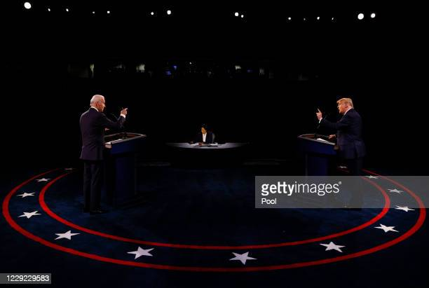 President Donald Trump and Democratic presidential nominee Joe Biden participate in the final presidential debate at Belmont University on October...