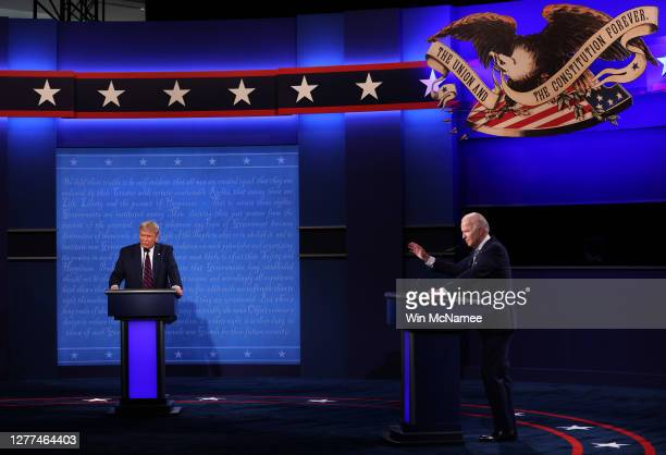 President Donald Trump and Democratic presidential nominee Joe Biden participate in the first presidential debate at the Health Education Campus of...