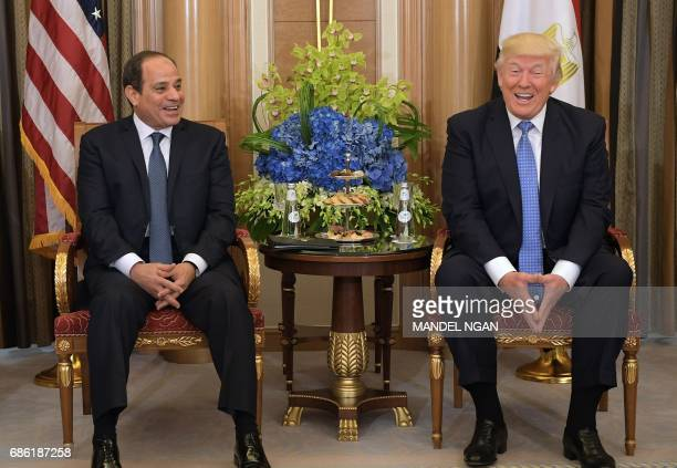 US President Donald Trump and Egyptian President Abdel Fattah alSisi take part in a bilateral meeting at a hotel in Riyadh on May 21 2017 / AFP PHOTO...