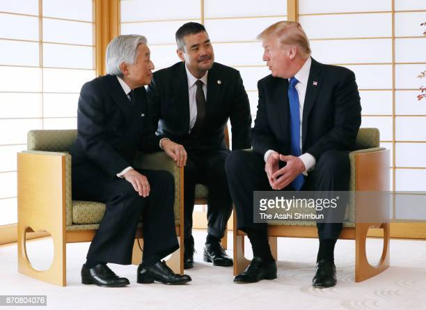 US President Donald Trump and Emperor Akihito talk during their meeting at the Imperial Palace on November 6 2017 in Tokyo Japan Trump is on 11day...