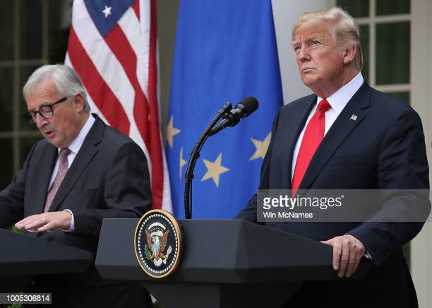 President Donald Trump and European Commission President Jean-Claude Juncker deliver a joint statement on trade in the Rose Garden of the White House...