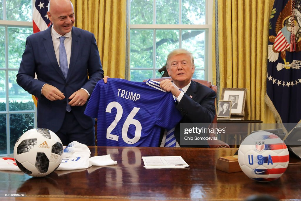 President Trump Meets With FIFA President Gianni Infantino At White House : News Photo