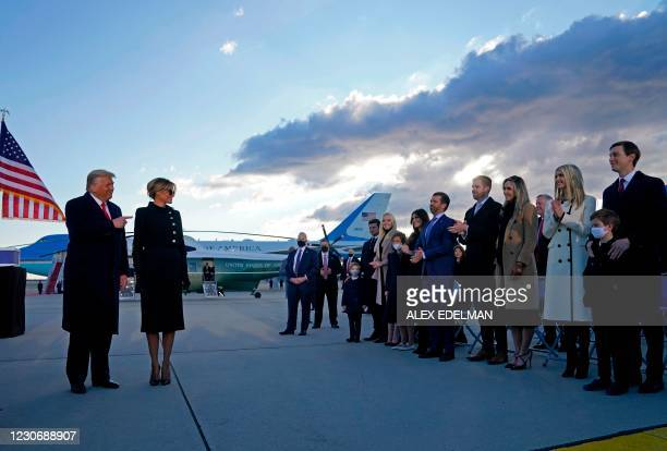 President Donald Trump and First Lady Melania are greeted by Ivanka Trump , husband Jared Kushner , their children, Eric and Donald Jr. , Tiffany...