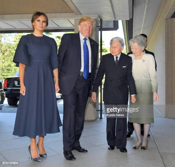 US President Donald Trump and first lady Melania are greeted by Japanese Emperor Akihito and Empress Michiko at the Imperial Palace in Tokyo on Nov 6...