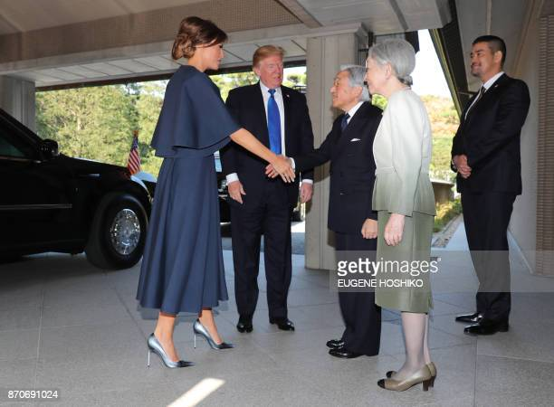 US President Donald Trump and First Lady Melania are welcomed by Emperor Akihito and Empress Michiko at the Imperial Palace in Tokyo on November 6...