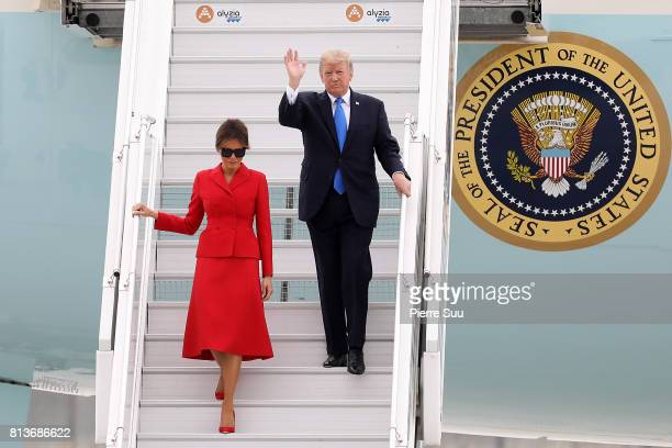 S President Donald Trump and first lady Melania Arrive At Orly Airport on July 13 2017 in Paris France President Trump and the first lady are in...