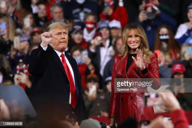 President Donald Trump and first lady Melania attend a rally in support of Sen. David Perdue and Sen. Kelly Loeffler on December 05, 2020 in...