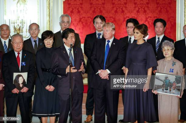 US President Donald Trump and First Lady Melania meet abductees and families of abductees by North Korea with Japanese Prime Minister Shinzo Abe and...