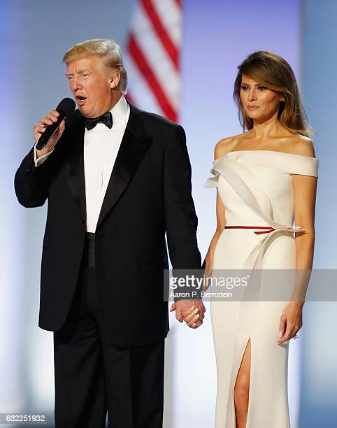 President Donald Trump and first lady Melania Trump address the Freedom Inaugural Ball at the Washington Convention Center January 20 2017 in...