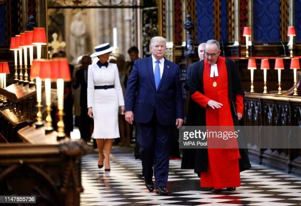 S President Donald Trump and First Lady Melania Trump are accompanied by Prince Andrew Duke of York and the Dean of Westminster John Hall during a...