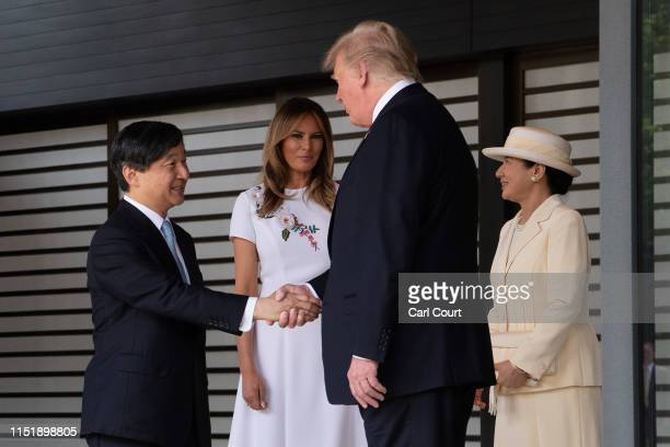 President Donald Trump and First Lady Melania Trump are bid farewell by Emperor Naruhito and Empress Masako as they leave the Imperial Palace on May...