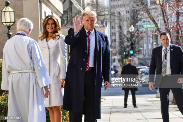 US President Donald Trump and First Lady Melania Trump are welcome by interim rector Bruce McPherson as they arrive at St Johns Episcopal church in...