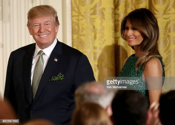 S President Donald Trump and first lady Melania Trump arrive at an event with Irish Prime Minister Leo Varadkar March 15 2018 in Washington DC...
